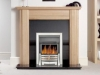 Oak Mantel with Black Granite and Chrome electric Fire
