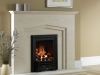 limestone fireplace with living flame gas fire