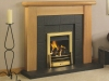Fireplace with Oak Mantel with Slate Steped interior with Brass living Flame Gas Fire