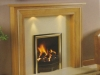 Fireplace with Oak Mantel with Lights, Marble Set and Living Flame Gas Fire