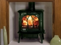 Stovax Huntingdon Cast Iron Multi Fuel Stove with Tracery Glass in Green Enamel