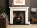 Penman Multi Fuel Stove in an Inglenook with a Limestone Surround