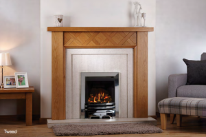 Tweed in Oak with Tiled Back & Hearth & Living Flame