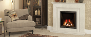 Vamella Marble Fireplace with Big Screen Gas fire